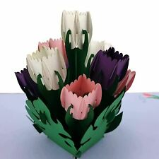Tulips (purple, pink and white) 3D pop up card