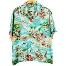 Paradise Found Hawaiian Mens Shirt XL Florida South Beach Flamingos Palm Blue