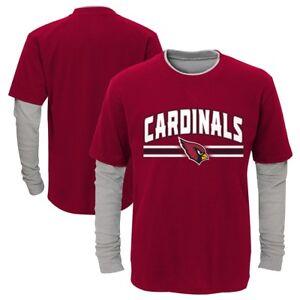 """Arizona Cardinals Outerstuff Boys Red """"Bleachers"""" LS Faux Layer T-Shirt"""