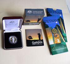 2005 Gallipoli $1 Silver Proof Anzac WWI World War I + 2003 $1 Vietnam Veterans