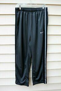 Men's NIKE Warm Up Track Pants Charcoal Gray W/ Gray Black Mesh Stripe -Size L