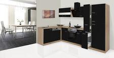 Küche Küchenzeile Winkelküche Leerblock respekta 310 cm Eiche Sägerau schwarz