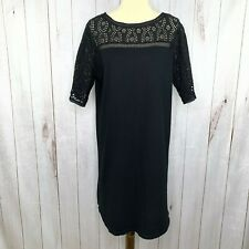 Lauren Ralph Lauren Womens Black 3/4 Sleeve Eyelet Lace Boat Neck Shift Dress L