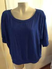 NEW nwt Plus size 3X blue soft top womens cotton blend short sleeve stretch