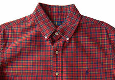 Men's RALPH LAUREN Red Navy Blue Yellow Plaid Oxford Shirt Small S NWT NEW