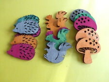 5 Holz Tiere o.Pilze  ca:45mm Basteln Kartengestaltung Auswahl Farbbeispiel