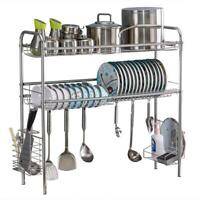 Single/Double layer Kitchen Stainless Steel Dish Drying Rack Over Sink Storage