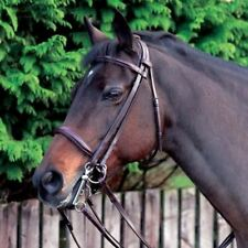 ** NEW CALDENE BROWN LEATHER SUPREME COMFORT DOUBLE BRIDLE & REINS - COB SIZE **