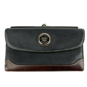 Dooney & Bourke Vintage Trifold Wallet Brown Black Leather Bottle Cap Kisslock
