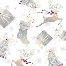 Christmas Holiday Elegance Bells & Gifts White 100% cotton Fabric By The Yard