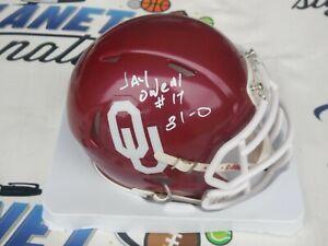 Jay O'Neal signed Oklahoma OU Sooners mini helmet w/ career record 31-0 COA