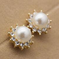 Women Fashion 18k Gold Plated Freshwater Pearl Flower Crystal Ear Studs Earrings