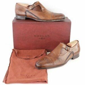 Mezlan Pisano Monk Strap Burnished Calfskin Leather Dress Shoes Cognac Mens 9.5