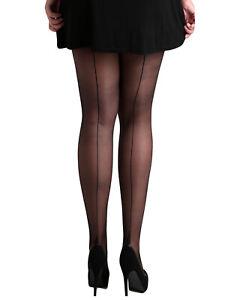 Schompi Jive Tights Vintage Damen Strumpfhose mit Naht Pin Up 50er Jahre Schwarz