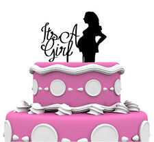 It's A Girl Baby Shower Pregnant Silhouette Cake Topper Decoration Gift Favor
