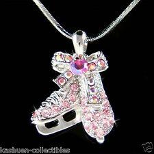 w Swarovski Crystal ~Pink Ice figure Hockey Skating Shoes Skate Pendant Necklace