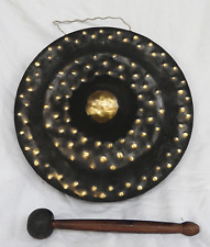 Large Hand Made Vietnamese Brass Gong and Striker - Lovely Tone - New