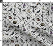 New listing Vintage Halloween Large Owl Gray Victorian Gothic Spoonflower Fabric by the Yard
