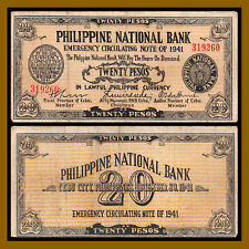 Philippines 20 Pesos, 1941 P-S218 WWII Emergency Note Circulated