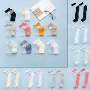 Women Girls Silk Socks Breathable Thin Glass Daisy Transparent Ankle Socks New