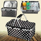 New Folding Picnic Camping Insulated Cooler Cool Hamper Basket Zip Bag Outdoor