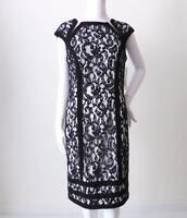 JOSEPH RIBKOFF Dress Lace Sheath Black & White rrp $369 Size AU 12 CAN/USA 10