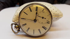 Antique Spindle Watch Pocket Verge Escapement Made of Silver with Key