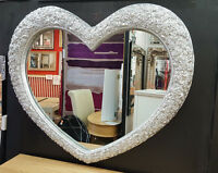 """Large Heart Wall Mirror Ornate French Engrved Roses 110X90cm 43""""x35"""" Silver"""