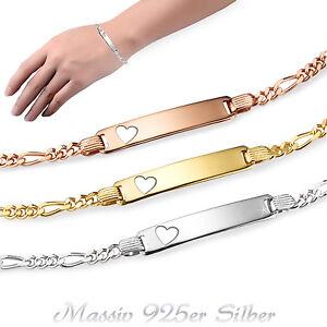 GravurArmband ID-Armband Figaro inkl. Gravur Damen Mädchen 925er Silber 13-19cm