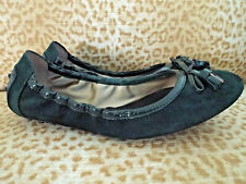 ***TOD'S Italy Sz 38.5/8M suede leather Comfort FLATS dk green!!