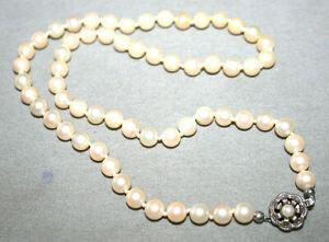 Edle, antike Zucht-Perlenkette -925 Sterling-Silber-Verschluß !