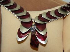 Burgundy Crystal Polygon Pendant on hand-made Scale Maille Necklace