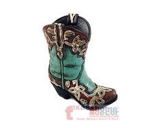 Turquoise Small Tiny Cowboy Boot Vase Toothpick Holder Pen Holder Rustic 4.5 in