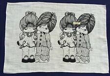 Vintage Retro Souvenir Unused PURE LINEN Tea Towel BOY GIRL LOVE Drawing Cartoon