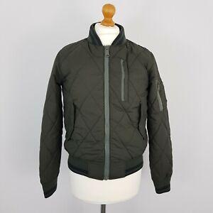 Schott Mens Dark Khaki Green Long Sleeve Quilted Zip Up Bomber Jacket Size Small
