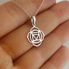 Root Chakra Necklace 925 Sterling Silver Outline Charm Gift Life Energy Body NEW