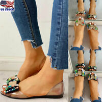 Womens Rhinestone Jelly Sandals Summer Peep Toe Flats Casual Slip On Shoes Size