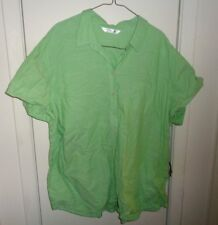 2X Ladies Womens Riders by Lee Blouse Shirt Solid Green Buttons Pocket Cotton SS