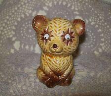 VINTAGE c.1950s CERAMIC KITSCH BEAR w/GOOGLY EYES PEPPER or SALT SHAKER 7.5cm