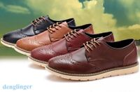 Retro Mens British Wingtip Leather Formal Shoes Sneakers Brogue Lace up Casual