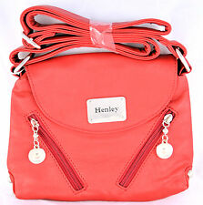 Henley Ladies Girls Small Shoulder Cross-Body Bag Red Faux Leather Zip Closure