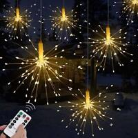 120 LED Firework Copper Wire Fairy String Lights + Remote For Wedding Xmas Decor