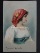 Jersey: Channel Islands Lady in National Costume c1906 by The London View Co