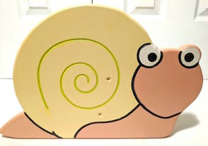 Snail Footstool Step Bookshelf Seat Childs Natural Wood Hand Painted Made in USA