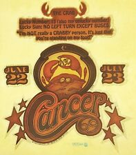 Original Vintage Cancer Iron On Transfer Jun 22-Jul 22 Horoscope The Crab
