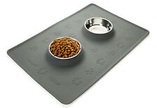 """24"""" x 16"""" Spillproof Pet Food Mat w/ Two 12oz Stainless Steel Bowls - OPEN BOX"""