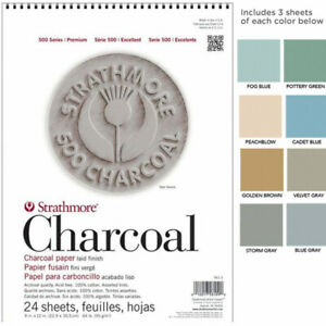 """Strathmore 500 Series Charcoal Paper 24 Sheet Pad 12x18"""" - Assorted"""