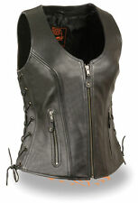 Milwaukee Leather Women's Open Neck Side Lace Motorcycle Leather Vest **MLL4531