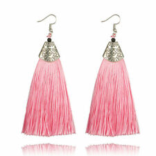 Boho Women Long Earrings Tassel Fringe Drop Dangle Hook Ear Stud Metal Earrings