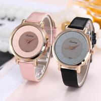 Women Men Fashion Leather Band Analog Quartz Round Wrist Watch Watches